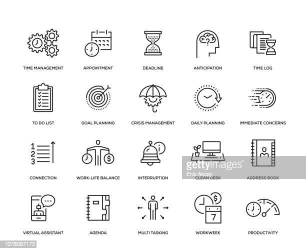 time management icon set - anticipation stock illustrations
