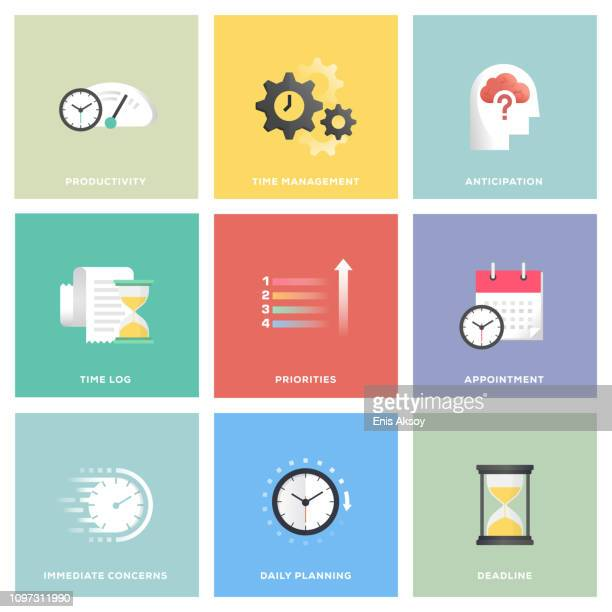 time management icon set - to do list stock illustrations