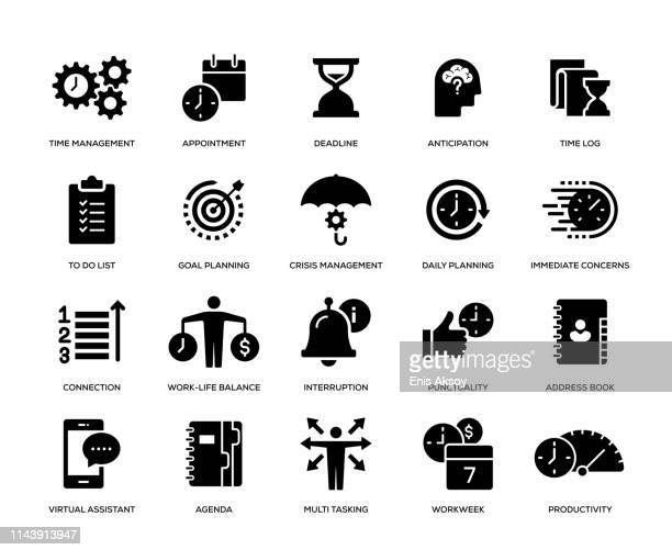 time management icon set - condition stock illustrations