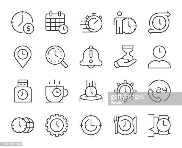illustrazioni stock, clip art, cartoni animati e icone di tendenza di gestione del tempo - icone delle linee luminose - investimento