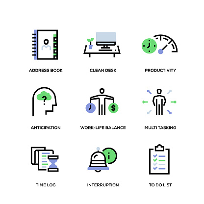 Time Management Line Icon Set - gettyimageskorea