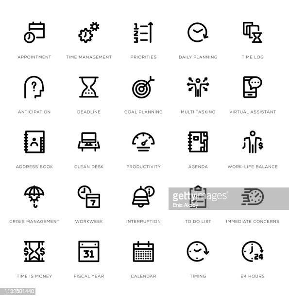 time management line icon set - routine stock illustrations