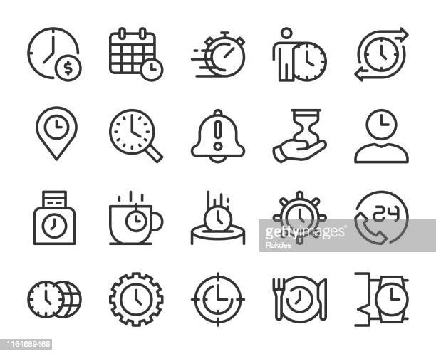time management - line icons - investment stock illustrations