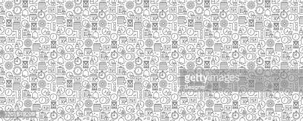 time management seamless pattern and background with line icons - reminder stock illustrations