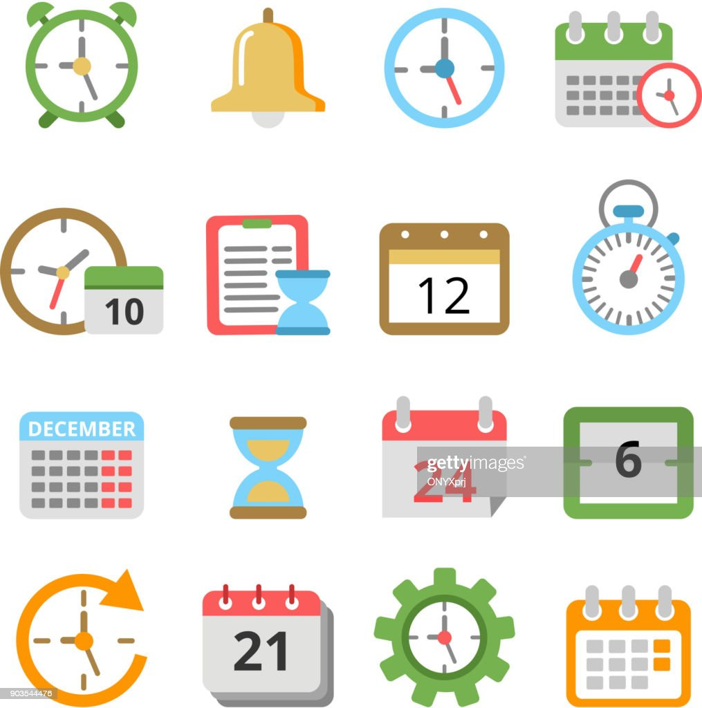 Time management symbols. Calendars, reminders, planners and other vector icons set