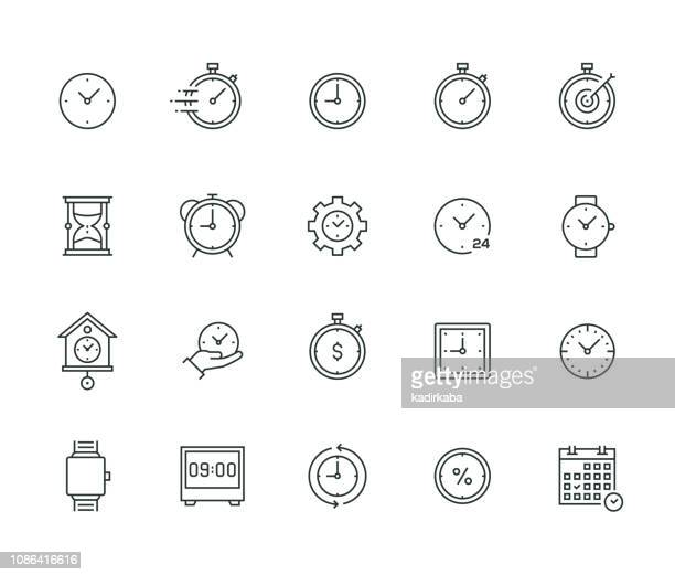 time management thin line series - time stock illustrations