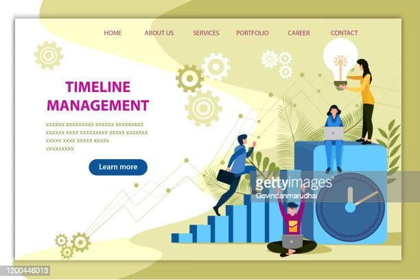 ilustrações, clipart, desenhos animados e ícones de gestão do tempo - cronologia auxiliar visual