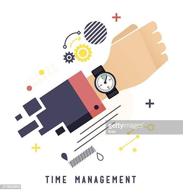 ilustrações, clipart, desenhos animados e ícones de gestão do tempo - relógio de pulso