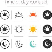 Time of the day simple icons set