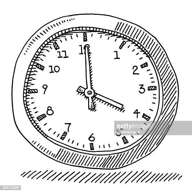 ilustraciones, imágenes clip art, dibujos animados e iconos de stock de tiempo de reloj de oficina dibujo - reloj de pared