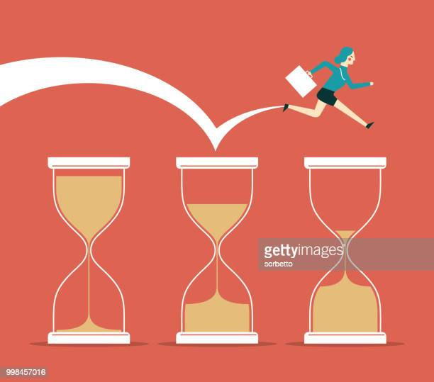 time pressure - businesswoman - long jump stock illustrations