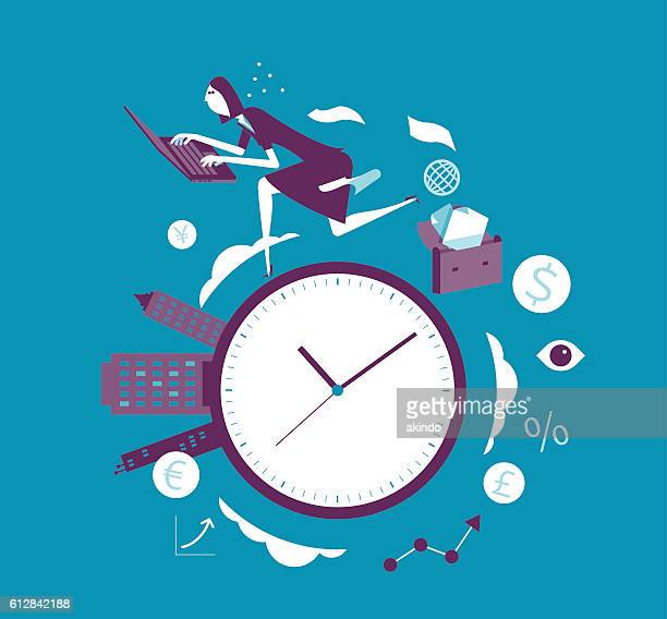 time race - mid adult women stock illustrations