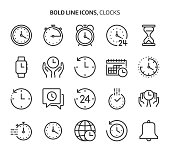 Time related bold line icon set.
