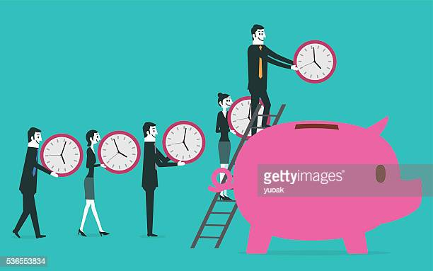 time saving into piggy bank - multiple image stock illustrations, clip art, cartoons, & icons
