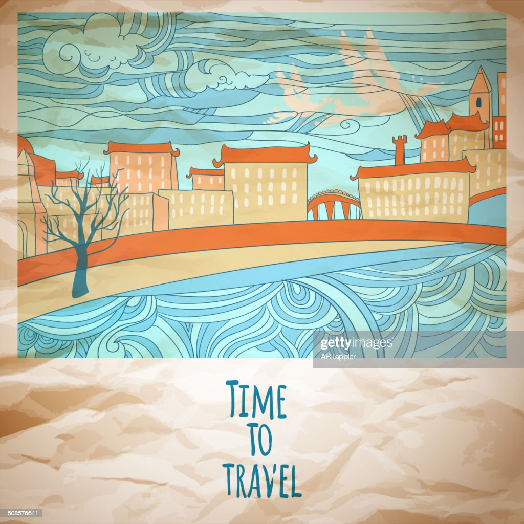 Time to travel abstract drawing card : Vectorkunst