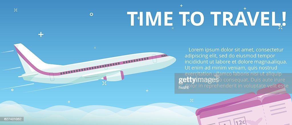 Time to travel. Flat vector plane flies in night sky