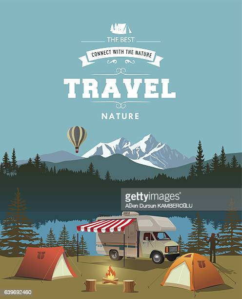 time to travel - tent stock illustrations, clip art, cartoons, & icons