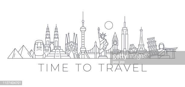 time to travel - world skyline - famous buildings and monuments.. travel landmark background. vector illustration - travel stock illustrations