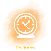 Time Tracking Doodle Watercolor Background