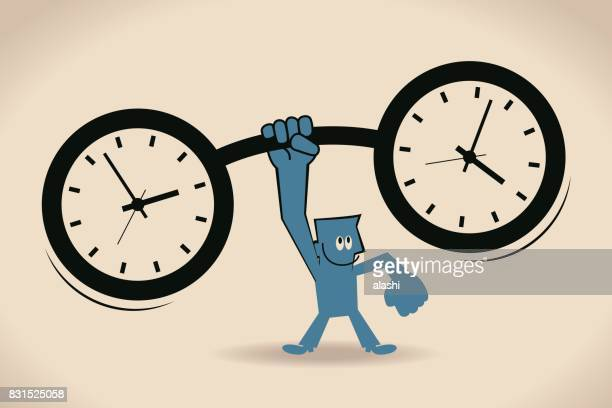 Time Weightlifting, strong businessman (man) lifting a huge heavy time clock weight (barbell) by one hand, time pressure and management concept