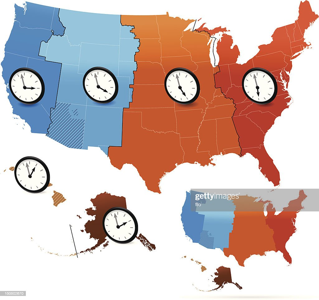 Usa Time Zones Map Black And White Vector Art Getty Images