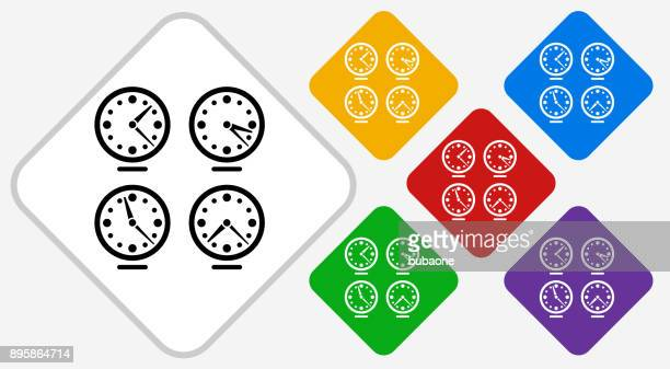Time zones Clocks Color Diamond Vector Icon