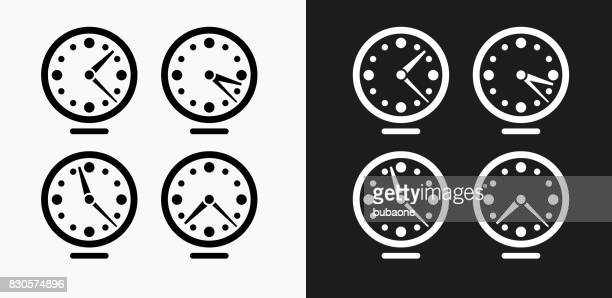Time zones Clocks Icon on Black and White Vector Backgrounds