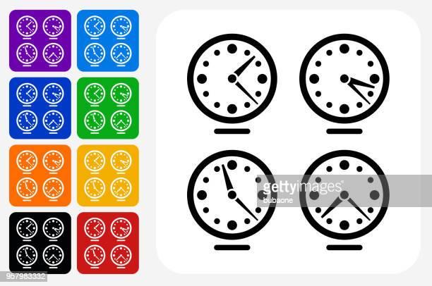 Time zones Clocks Icon Square Button Set