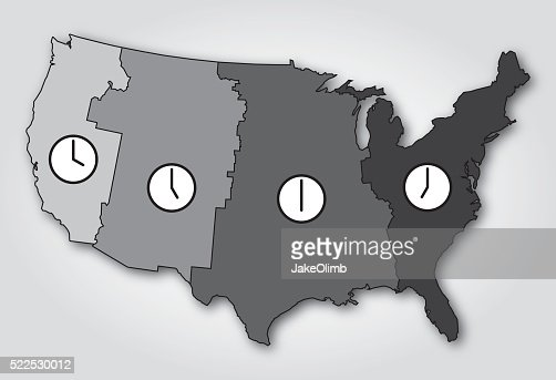 Usa Time Zones Map Black And White Vector Art Getty Images - Us time zone with map