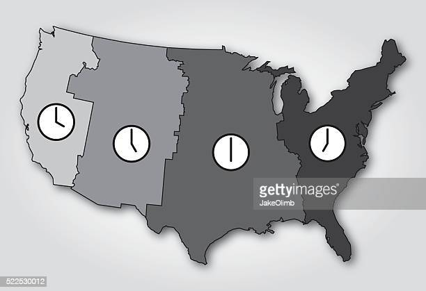 USA Time Zones Map Black and White