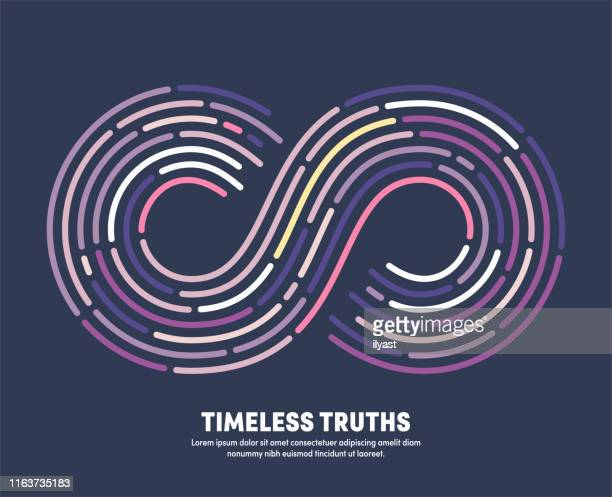 timeless truths with infinity eternity symbol illustration - infinity stock illustrations