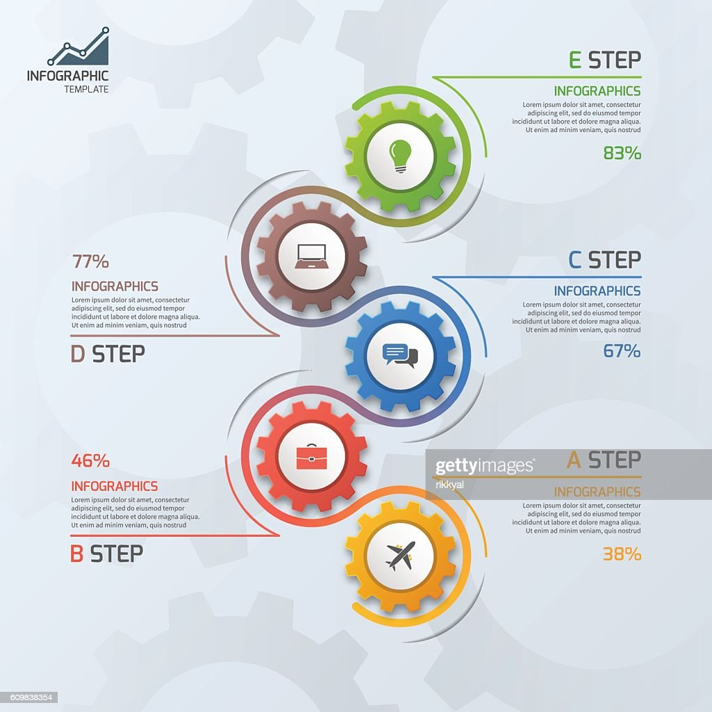 Timeline business infographic template with 5 steps