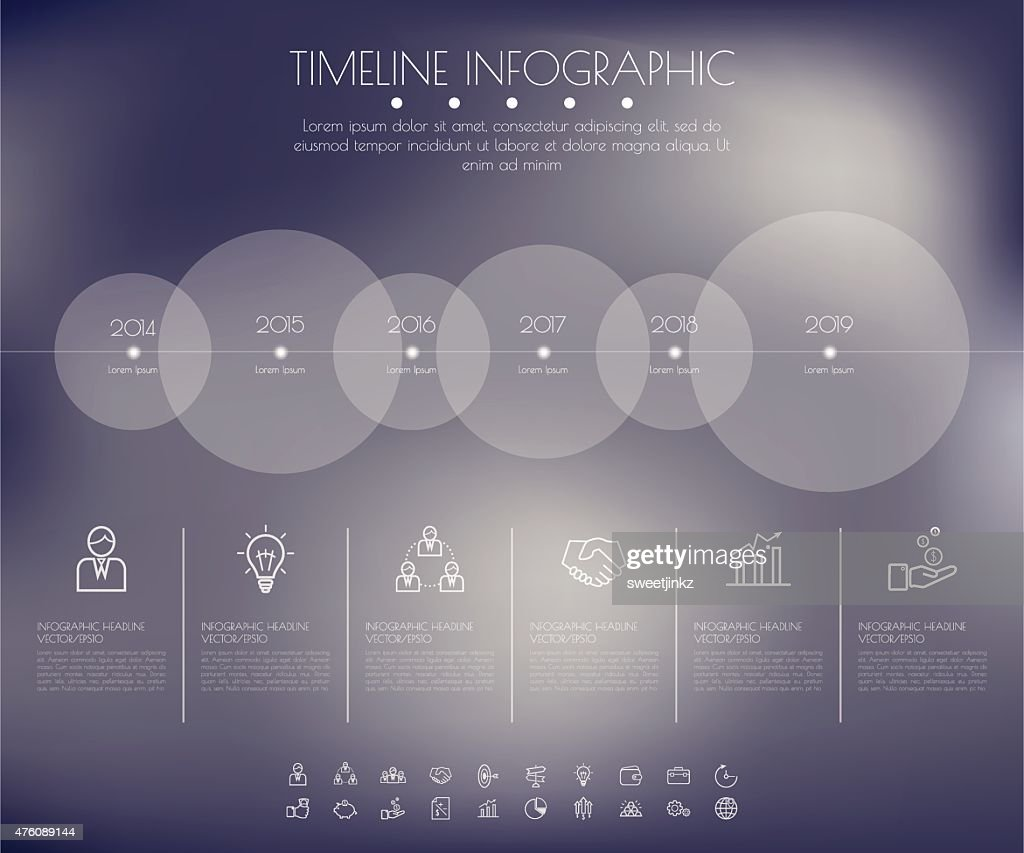 Timeline Circles Infographic. Flat Vector design template. : Stock Illustration