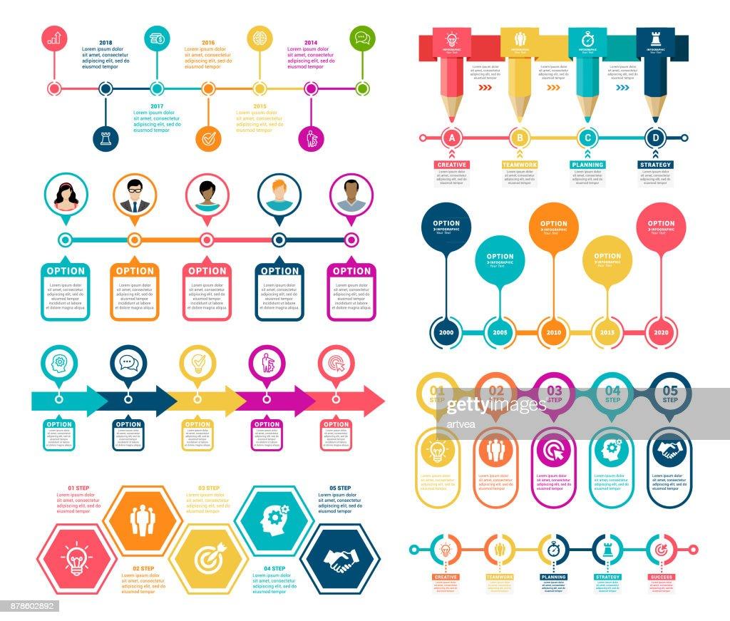 Infográfico de Timeline elementos : Ilustração