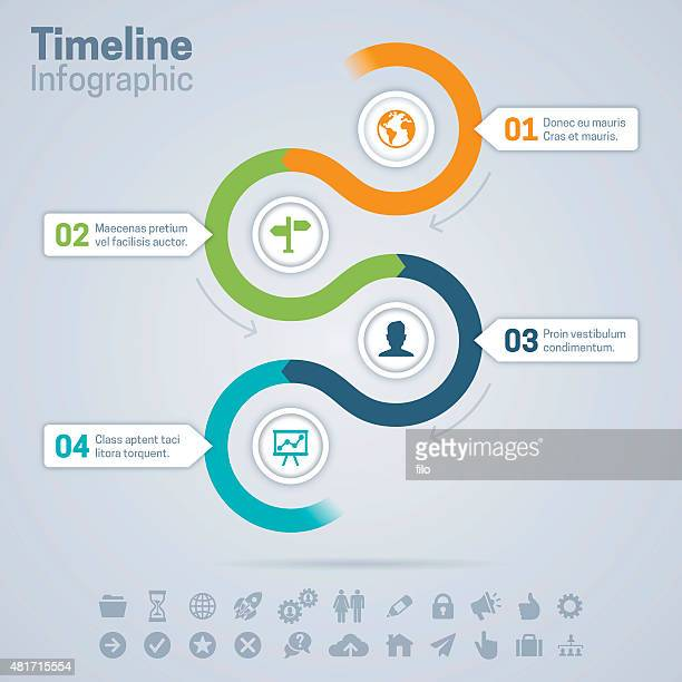 timeline infographic - four objects stock illustrations