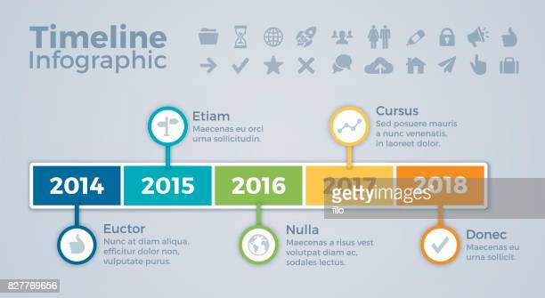 timeline infographic - time line stock illustrations, clip art, cartoons, & icons