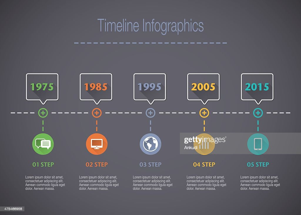 Timeline Infographic with pointers and text