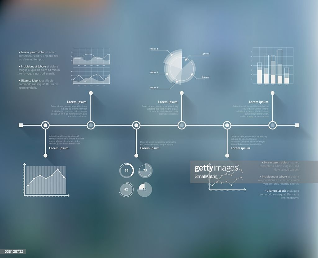 Timeline infographic with unfocused background and icons set. World map