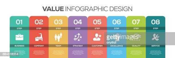 Tidslinjen infographics design vektor med ikoner, kan användas för arbetsflöde layout, diagram, årsredovisning och webbdesign. VÄRDET koncept med 8 alternativ, steg eller processer.