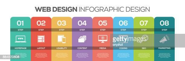 Tijdlijn infographics ontwerp vector met pictogrammen, kan worden gebruikt voor de indeling van de werkstroom, diagram, jaarverslag en webdesign. WEB DESIGN concept met 8 opties, stappen of processen.