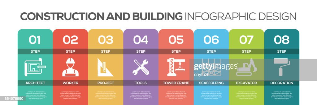 Timeline infographics design vector with icons, can be used for workflow layout, diagram, annual report, and web design. CONSTRUCTION AND BUILDING concept with 8 options, steps or processes.