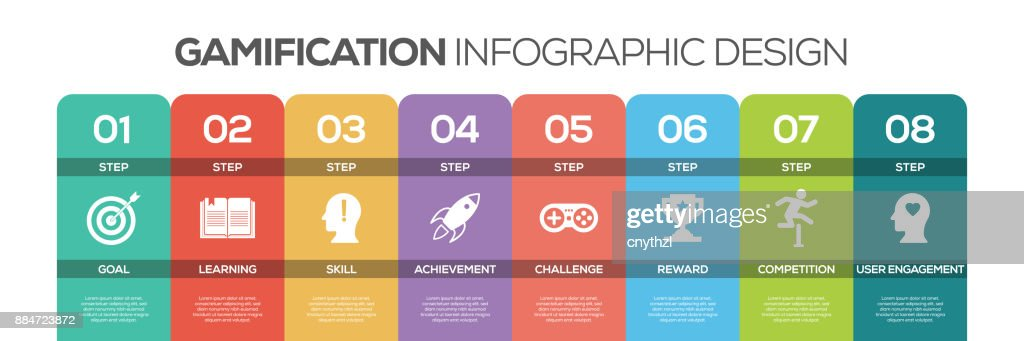 Timeline infographics design vector with icons, can be used for workflow layout, diagram, annual report, and web design. GAMIFICATION concept with 8 options, steps or processes.