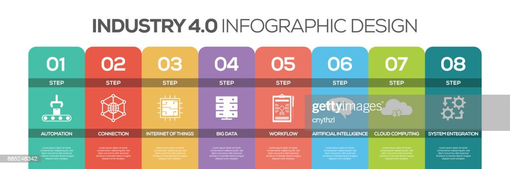 Timeline infographics design vector with icons, can be used for workflow layout, diagram, annual report, and web design. INDUSTRY 4.0 concept with 8 options, steps or processes. : stock illustration