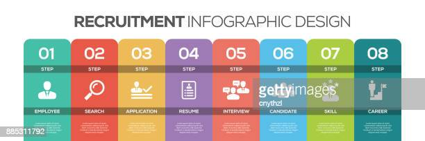 Timeline infographics design vector with icons, can be used for workflow layout, diagram, annual report, and web design. RECRUITMENT Concept with 8 options, steps or processes.