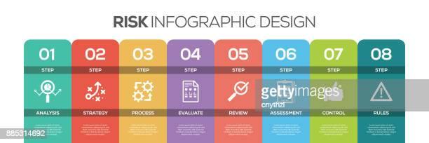 zeitachse infografiken design vektor mit symbolen, eignet sich für workflow-layout, grafik, jahresbericht und webdesign. konzept mit 8 optionen, schritte oder verfahren zu riskieren. - zeitleiste visuelle darstellung stock-grafiken, -clipart, -cartoons und -symbole