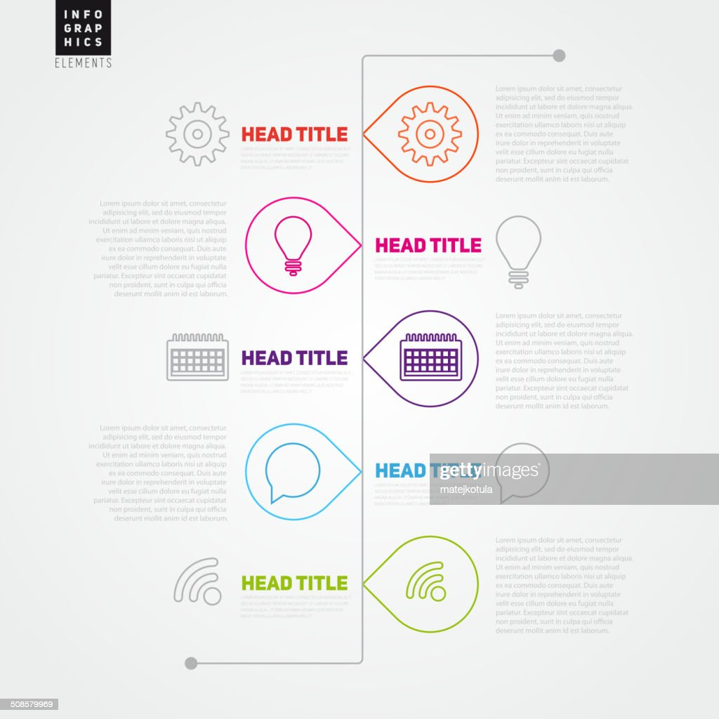 Timeline Vector Infographic template made from lines : Vector Art