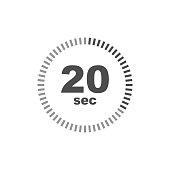 Timer 20 sec icon. Simple design