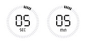 Timer countdown with minutes and seconds Icons.