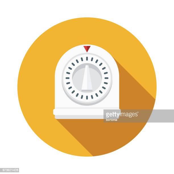 timer flat design kitchen utensil icon - timer stock illustrations