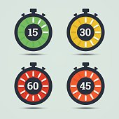 Timer icons with color gradation and numbers.